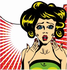 Popart comic 1 Love Vector illustration of surprised woman face